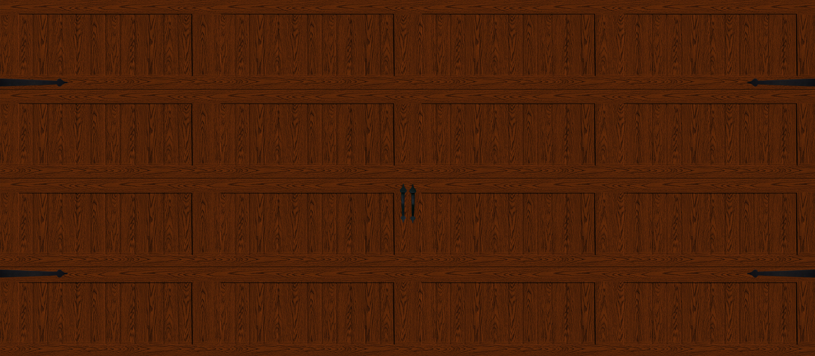 16x7 Long Panel Carriage Light Oak - hardware