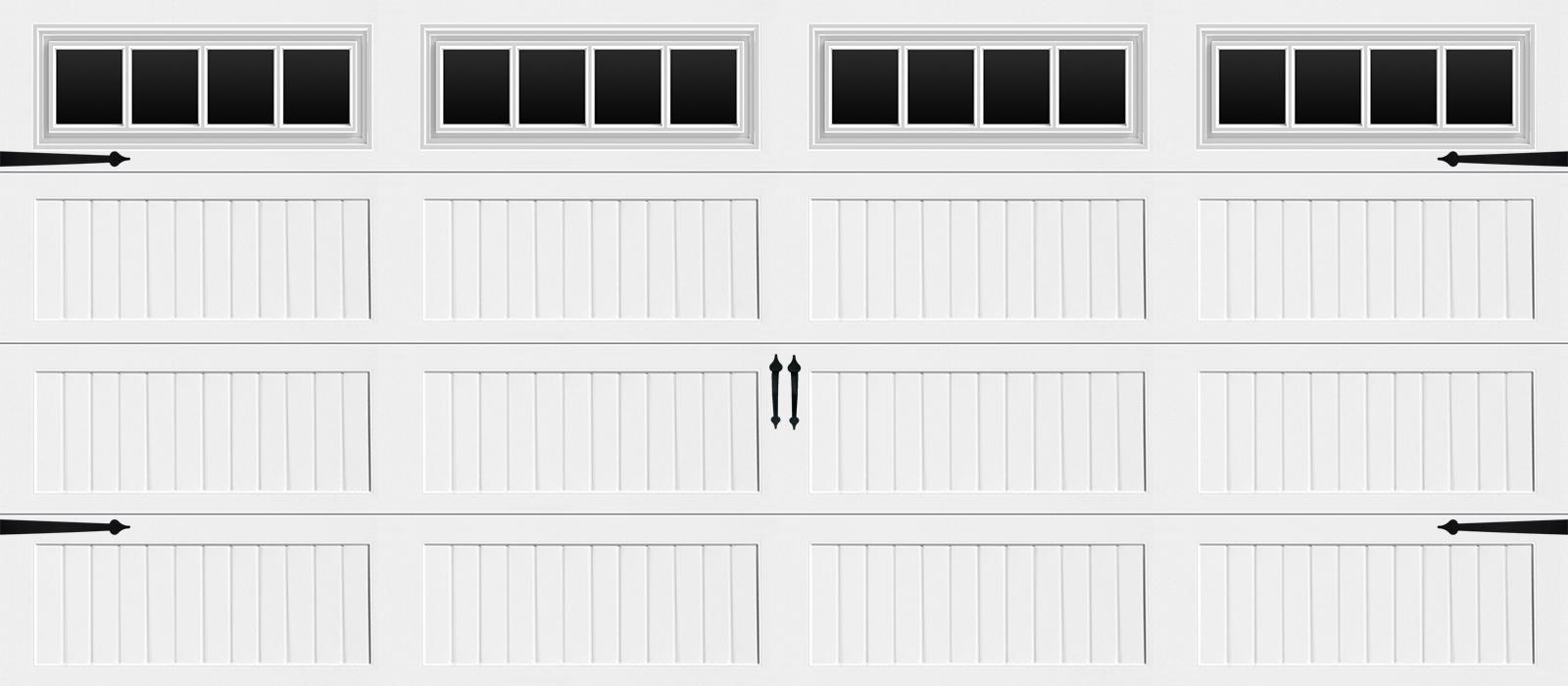16x7 Long Panel Carriage White Stockbridge - hardware