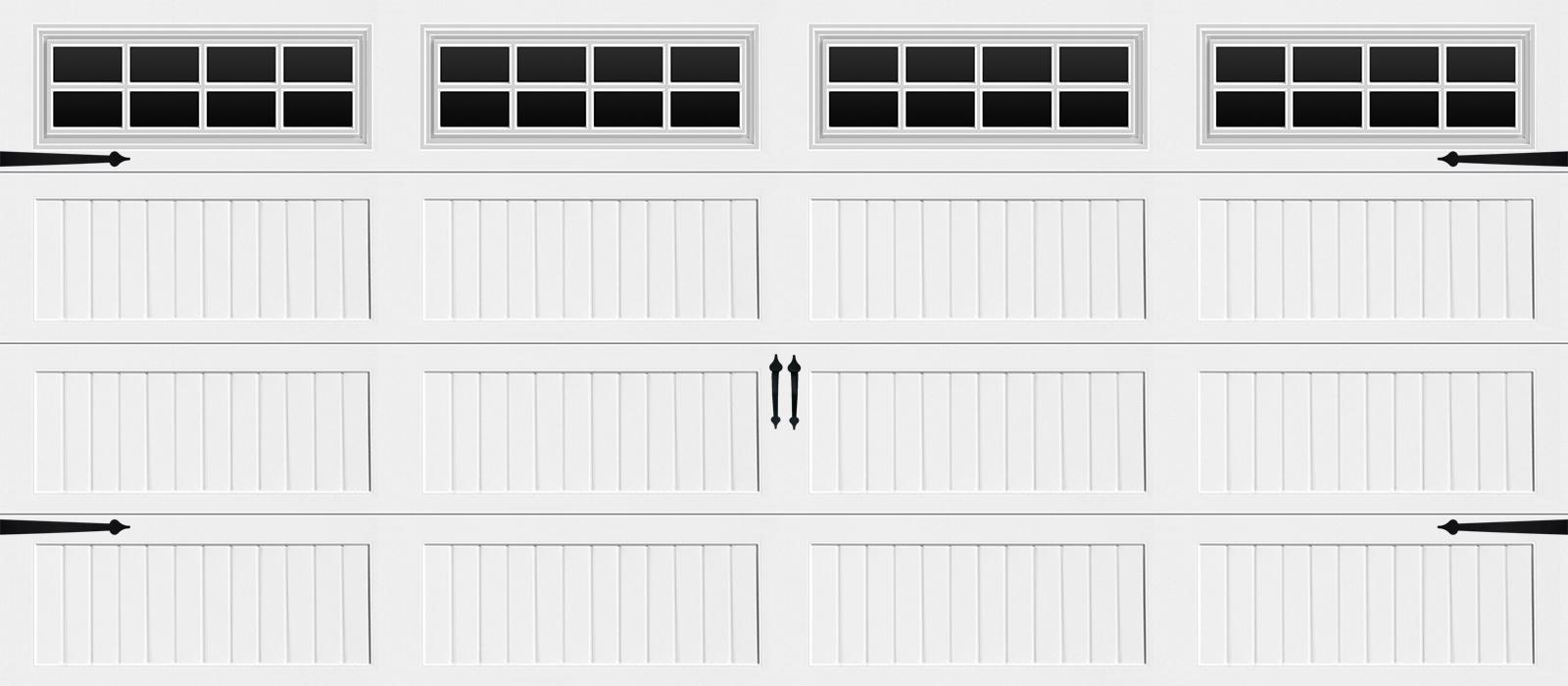 16x7 Long Panel Carriage White Stockton - hardware
