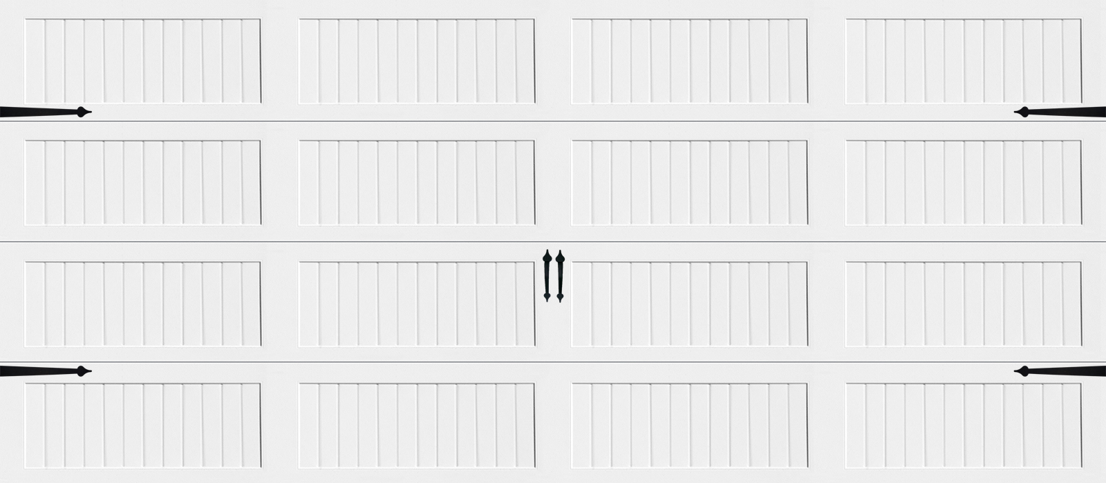 16x7 Long Panel Carriage White - hardware