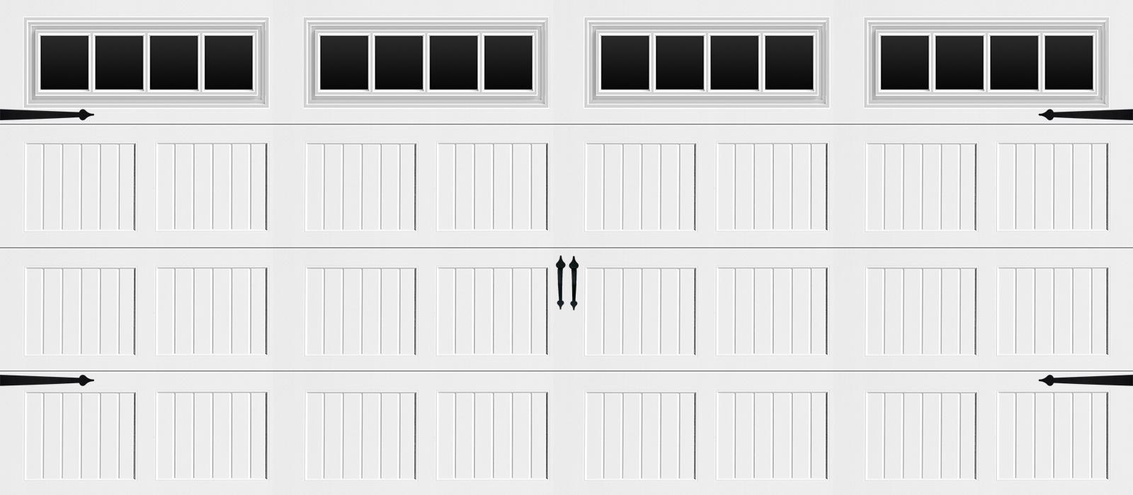 16x7 Short Panel Carriage White Stockbridge - hardware