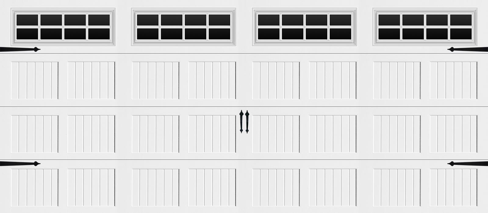 16x7 Short Panel Carriage White Stockton - hardware