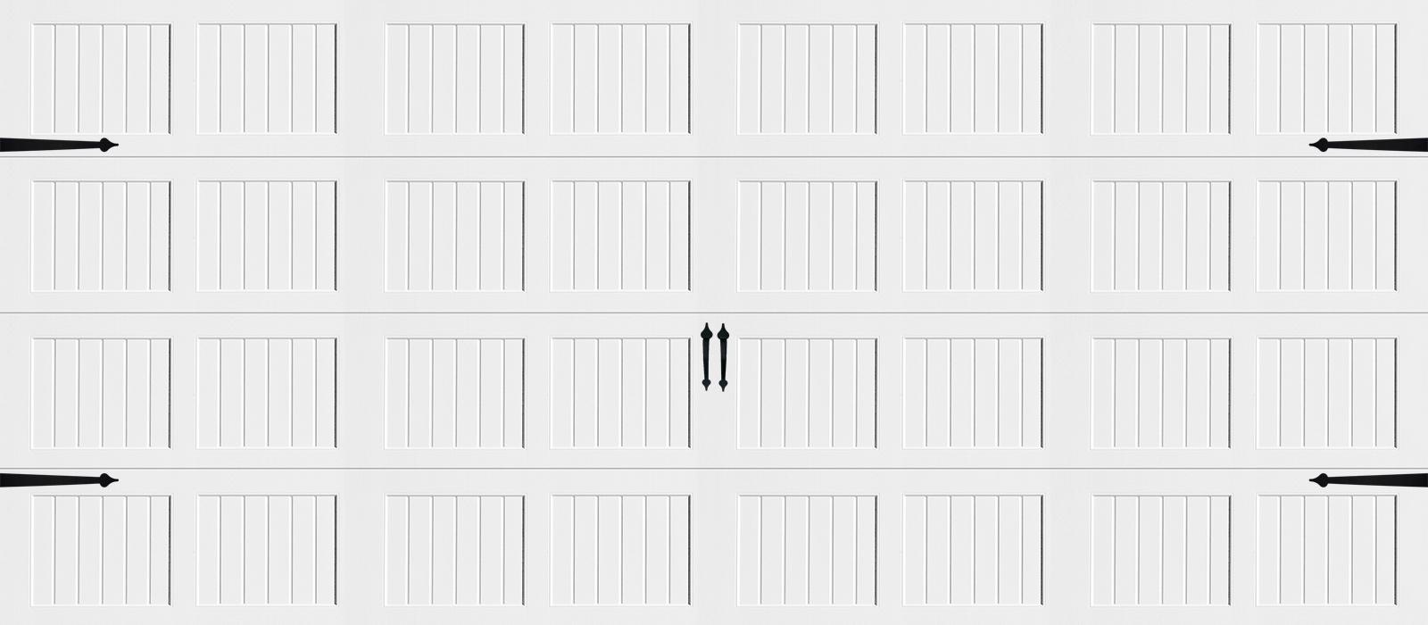 16x7 Short Panel Carriage White - hardware